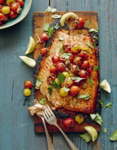 Cedar-Plank-Salmon-+-Blistered-Tomatoes-